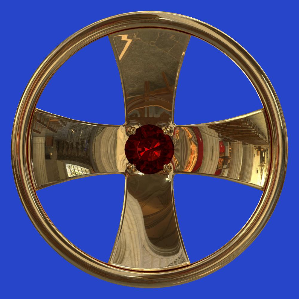 Две Дороги, золото 750 пробы, циркониевый гранат